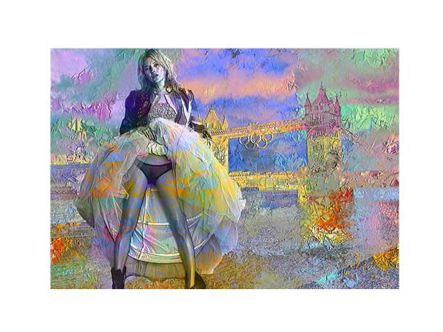 Kate Moss at Tower bridge
